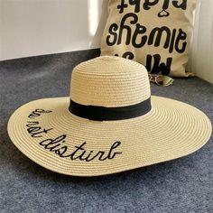 f898d2710b0 IAMPANDA brand 2017 letter embroidery cap Big brim Ladies summer straw hat  youth hats for women Shade sun hats Beach hat sale