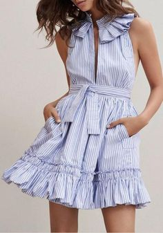 clothing design on sale at reasonable prices, buy Blue Stripe Ruffle Trim Slit Front Sleeveless Skater Dress Women Sleeveless Stand Neck Tied Waist Novelty Design Casual Clothing from mobile site on Aliexpress Now! Cute Dresses, Casual Dresses, Fashion Dresses, Cheap Dresses, Tailored Dresses, Dresses Dresses, Party Dresses, Short Dresses, Fashion 2017