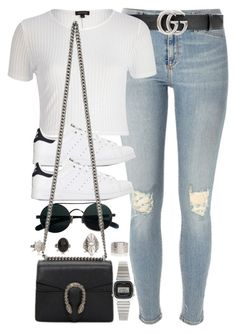 """""""Sin título #13143"""" by vany-alvarado ❤ liked on Polyvore featuring River Island, Gucci, adidas and Casio"""