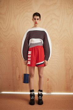 MSGM | Resort-2017 | #striped #cocoon sweater