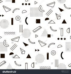Vector Pattern With Black And White Geometric Shapes. - 387219556 : Shutterstock Vector Pattern With Black And White Geometric Shapes. Memphis Design, Memphis Art, Graphic Patterns, Shape Patterns, Textures Patterns, Print Patterns, Geometric Designs, Geometric Shapes, Conception Memphis