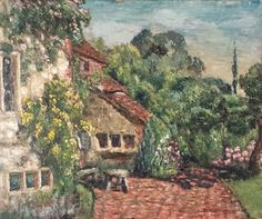 Vintage Original Oil Board Painting Signed Picture Impasto Cottage Garden Trees