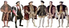 Diferentes vestimentas masculinas durante o Renascimento como por exemplo, diferentes tipos de chapéus, gibão e braguetas.