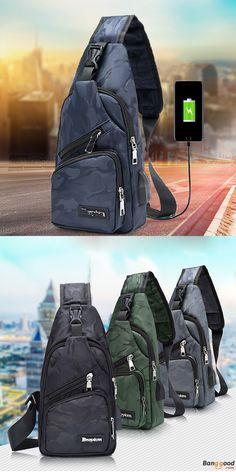 2d88bd6515af Men Crossbody Shoulder Bag Chest Bag Travel Hiking Daypack with USB  charging Port