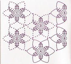 Crochet Motif Patterns, Crochet Diagram, Crochet Chart, Crochet Basics, Diy Crochet, Crochet Doilies, Crochet Flowers, Crochet Circles, Crochet Squares