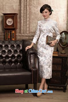 Birds love the colorful spring 2015 the new paragraph 9 cuff silk brocade coverlets daily long cheongsam dress female figure XL, birds love, shopping on the Internet