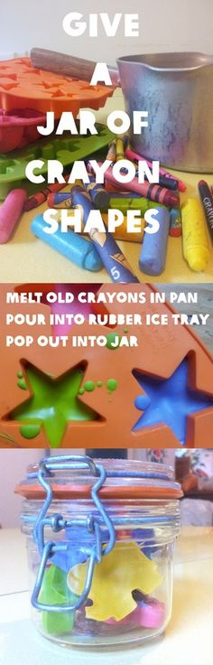 Melt old crayons into new shapes----perfect for a gift to take home from a b-day party or just to make for the little ones who break the thin crayons so easily