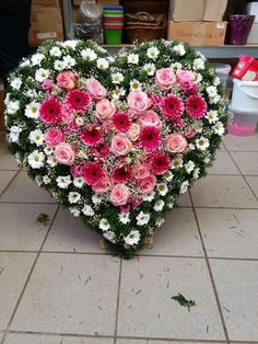 Looking for unique funeral arrangements? - A large flower arrangement in the shape of a heart made from various types and colors of flowers. Funeral Floral Arrangements, Large Flower Arrangements, Large Flowers, Casket Flowers, Funeral Flowers, Wedding Flowers, Funeral Sprays, Grave Decorations, Memorial Flowers