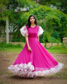 Glorious Ethnic Dresses You Can Wear Any Day! Planning to shop ethnic dresses online? Do check out this brand's collection. Gown Dress Party Wear, Long Gown Dress, Frock Dress, Lehnga Dress, Fancy Blouse Designs, Designs For Dresses, Dress Neck Designs, Sleeve Designs, Frock Models