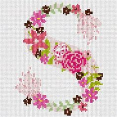 The Letter S Flowering (Large) Needlepoint Canvas Pepita