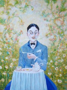 """Proust Ink in Twitter (https://twitter.com/proustink) Painting: """"Marcel and the madeleine"""" by David Richardson (http://resemblancetheportraits.blogspot.com/)"""