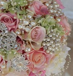 Vintage Pink & Pearl Brooch Bouquet with Garden Style Embellishments 11x11 Elegant Silk Flower design with soft pinks, blush ivory and pale green colors. Bouquet filled with pearl and rhinestone accen