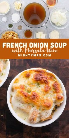 French Onion Soup with Marsala Wine - A delicous and simple soup is easy to make homemade. This is a classic recipe with a twist for the best flavor. Perfect winter comfort food or for celebrating special occasions or a romantic dinner for two. Oven baked with melted cheese on top. Quick and easy. Made with onions, 3 cheeses, beef broth, malt vinegar and marsala (or another red wine). Must try! Learn how to make restautant quality soup made at home! Onion Recipes, Easy Soup Recipes, Brunch Recipes, Easy Dinner Recipes, Dinner Ideas, Cooking Recipes, Marsala Wine, Onion Soup, French Onion