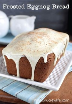 Frosted Eggnog Bread is the perfect sweet bread for the eggnog lovers in your life. A fantastic holiday breakfast or snack, just add a cup of coffee and you are good to go!