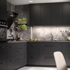 Black Kitchen Decor, Modern Kitchen Design, Home Decor Kitchen, Kitchen Interior, Rustic Kitchen, Open Plan Kitchen, Kitchen Redo, Kitchen Remodel, Home Room Design
