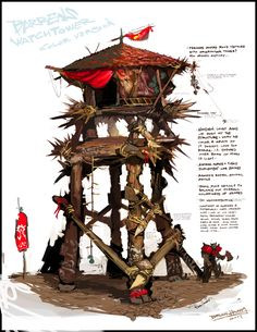 Orcish battle tower: used by orc trips to survey areas for raiding and day time defense. Orcs sleep in these palisades in order to avoid the sun and keep out of reach of wildlife and enemies. These also provide them with long range allowing them to attack enemies trying to sneak on those outpost.