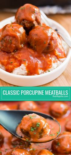 These Classic Porcupine Meatballs are a super easy family favorite recipe. They're simple to make with ground beef, rice and Campbell's Tomato Soup to make the sauce and are then baked in the oven and served over rice. This is the best quick meal for a busy weeknight!#ad