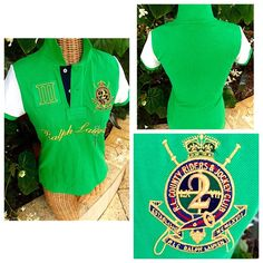 "Ralph Lauren Big Pony Jockey Club Crest Polo RL Riders & Jockey Club Crest, number 'III' and 'RALPH LAUREN' in golden embroidered on chest   Ribbed collar & armbands 2 button placket reinforced with canvas  Uneven vented hem.                                                 Measurements laying flat  shoulder 14, chest armpit to armpit 18 "", length from bottom to collar back 23.75 "" Ralph Lauren Tops"