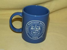 JAMES MADISON UNIVERSITY MUG JMU COFFEE TEA CUP BLUE PURPLE WHITE ETCHED 1908 #Unbranded #JamesMadisonUniversity
