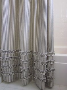 "72"" x 96"" extra long shower curtain with ruffles. Made to order in USA in 4-6 weeks. Choose from Black, Navy, Light Gray, Light Brown or Rich Red ticking stripe. 100% cotton dry clean recommended. Oth"