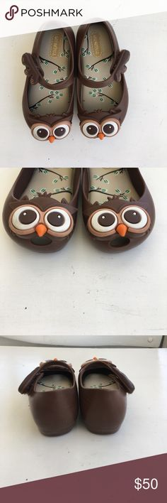Owl shoes Brown mini Melissa owl shoes. Like new aside from some small dirt on the front white eyes Mini Melissa Shoes