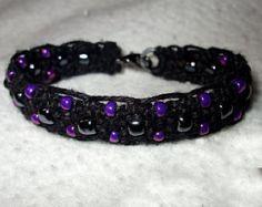 Elegant Flat Micro Macrame Hemp Bracelet with Purple Glass Beads - Micro Macrame Hemp Jewelry