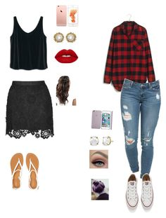 """""""8th grade school dance outfit ideas"""" by lexyb34 on Polyvore featuring MANGO, Aéropostale, Kendra Scott, Lime Crime, Madewell, Converse, women's clothing, women, female and woman"""