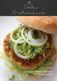Knusper-Poulet-Burger mit Guacamole