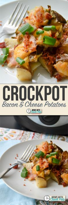This is one of the most popular recipes on MomsWithCrockpots.com. You have to try this simple Crockpot Bacon & Cheese Potatoes Recipe. Great anytime of the day!