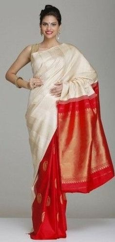 Silks SAree in white and Red