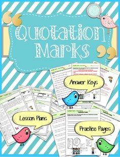 This is a set of 3 lessons to teach Quotation Marks to your students.  The set includes teacher lesson plans, a reference page, activity pages, and answer keys.These lessons were written at a 3rd and 4th grade level.  It could be modified for 5th grade if needed.The reference page can also be adapted as an interactive notebook page.