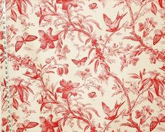 Red toile fabric bird and butterfly fabric at for Bird nursery fabric