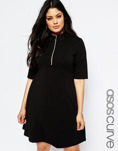 Image 1 ofASOS CURVE Polo Skater Dress With Collar & Zip