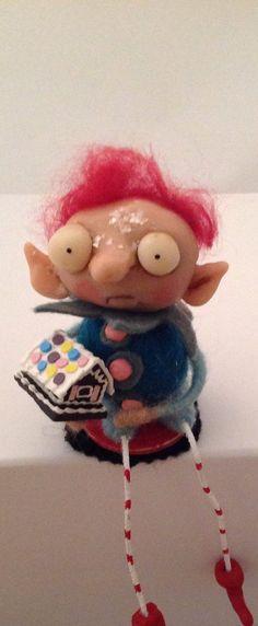 Sitting ELF w/ gingerbread houseooak art doll on Etsy, $59.00