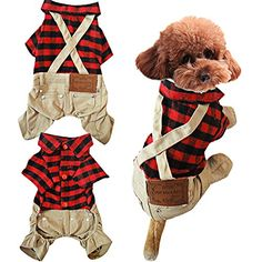 OSPet Cotton Plaid Shirt Style Overalls Jumpsuit Soft Autumn Winter Dog Clothes for Cat Puppy Pet -- Details can be found by clicking on the image. (This is an affiliate link)