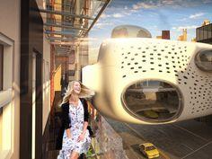 """Mas o escritório ZA Architects propõe reaproximar os turistas. Em vez de projetar uma nova construção inteira, eles sugerem um conceito de hotel diferente, o """"Heart of the District"""", em Nova York. Os quartos ficam em edifícios já existentes e a área comum em um incrível prédio suspenso sobre a rua."""