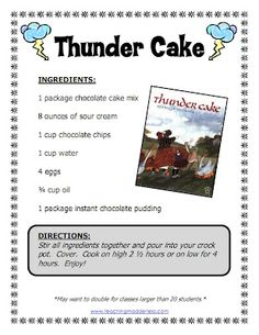 cooking Thunder Cake in the classroom with a crockpot. (COULD BE USED FOR WHOLE GROUP FRACTION ACTIVITY...)