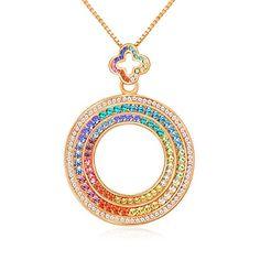 Designer Jewelry free shipping deal  Qianse Designer DUBAI Eye Wolrd Premiere Rainbow-Colored Crystals Rose Gold Plated Ferris Wheel Pendant