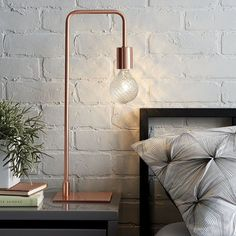 12 Bedside Table Lamps To Dress Up Your Bedroom // Arc Copper table lamp from CB2 #LampBedroom
