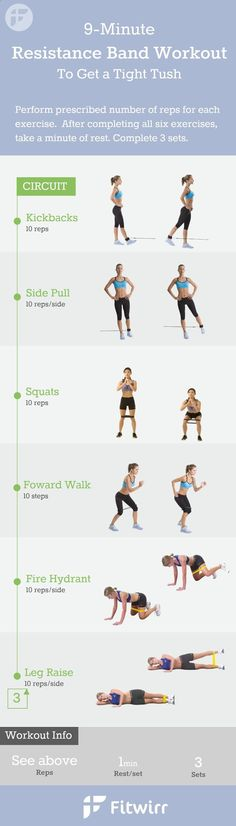9-Minute Resistance Band Exercises for women. You dont have to lift heavy dumbbells or a medicine ball to get a great workout at home. Follow this 9 minute exercise band workouts to firm your butt, legs and inner thighs. , Follow PowerRecipes For More.