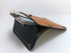 Handmade orange and black genuine leather Wallet / card holder/case/ ooak holds 5-8 cards, some cash/ free monogram , personalized unique