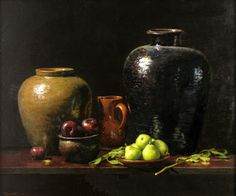 Dean Larson, Pears and Vases, Oil on Panel, 30 x 36 inches, 2006, not Vermeer