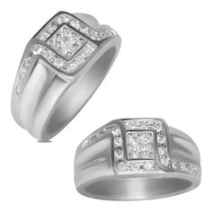 NissoniJewelry.com: 1/2cttw Diamond Gents Ring in 14k White Gold-Semi Hollow Closed Back: Jewelry: GR9272H-W476