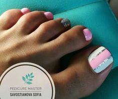 Gel Toe Nails, Feet Nails, Toe Nail Art, Gel Toes, Pink Toe Nails, Blue Nail, Toenails, Gel Nail, White Nails