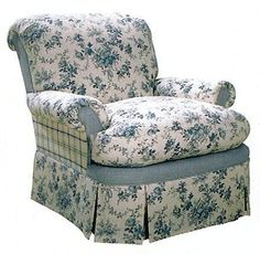great blue and white chair