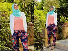 hijab floral pants  Casual hijab wear by pinky store http://www.justtrendygirls.com/casual-hijab-wear-by-pinky-store/