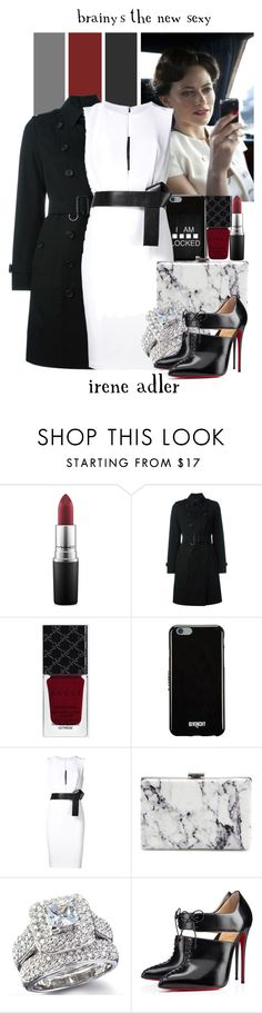 """Irene Adler -- 27/50 Favorite Fictional Females"" by evil-laugh ❤ liked on Polyvore featuring MAC Cosmetics, Burberry, Gucci, Givenchy, KaufmanFranco, Balenciaga and Christian Louboutin"