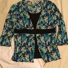 """Fun summery 3/4 sleeve blouse Summery, twin set look to this versatile blouse. """"Crinkly"""" look and feel. Polyester. Machine wash. Blues, greens, white & black. Christopher & Banks Tops Blouses"""