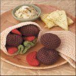 Yummi Gurumi Over 60 Gourmet Crochet Treats to Make - Pattern Pita Pocket, veggies, & falafel