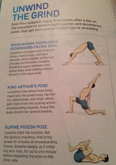 Yoga poses for after snowboarding.